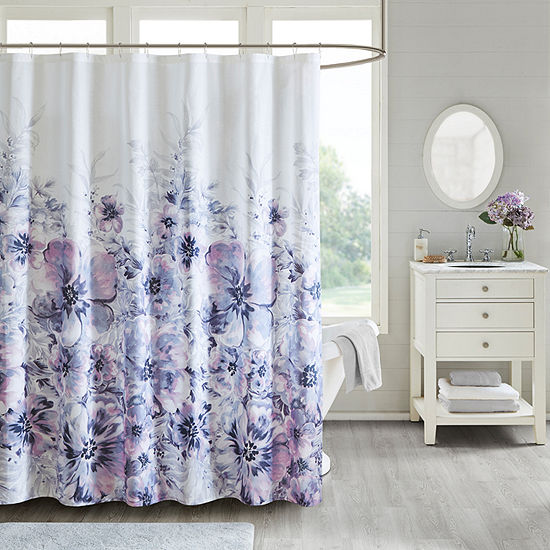 Madison Park  Adella Floral Cotton Printed Shower Curtain