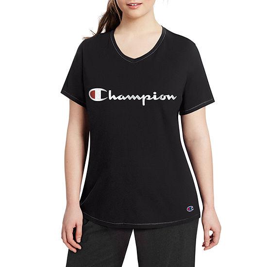 Champion Womens V Neck Short Sleeve T-Shirt Plus
