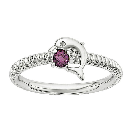 Genuine Rhodolite Garnet and Diamond-Accent Sterling Silver Stackable Dolphin Ring