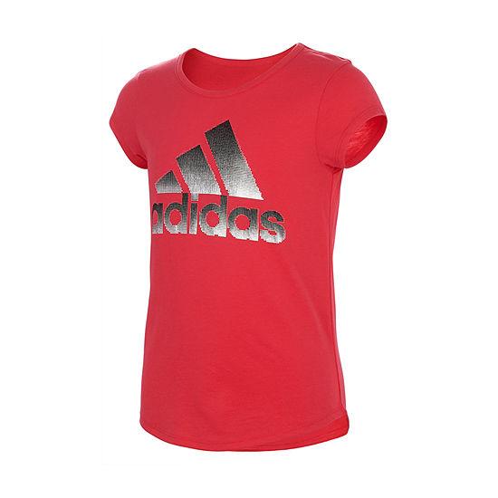adidas - Big Kid Girls Round Neck Short Sleeve Graphic T-Shirt