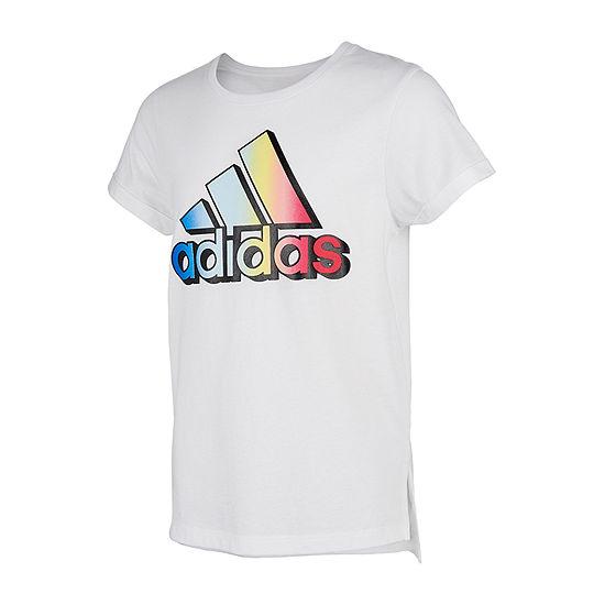adidas Big Girls Round Neck Short Sleeve Graphic T-Shirt
