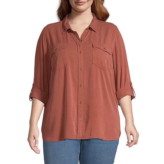 a.n.a-Plus Womens Long Sleeve Button-Front Shirt