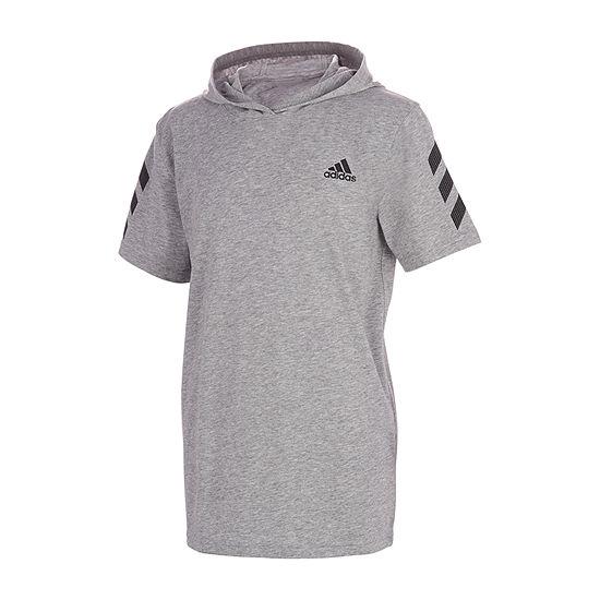 adidas Hooded Neck Big Boys Hooded Neck Short Sleeve T-Shirt