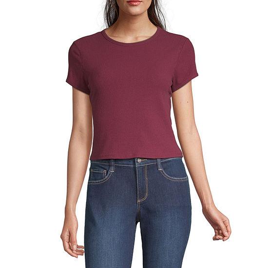 Arizona Juniors-Womens Crew Neck Short Sleeve T-Shirt