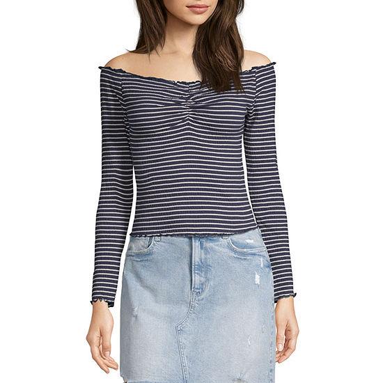 Arizona-Juniors Womens Straight Neck Long Sleeve Blouse