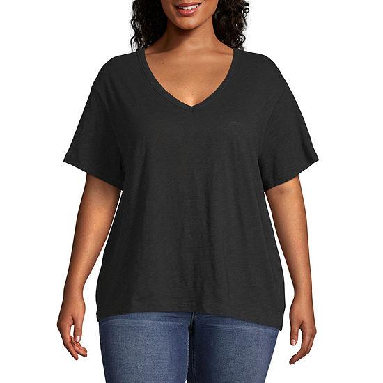 Arizona Womens V Neck Short Sleeve T-Shirt - Juniors Plus