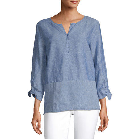 Liz Claiborne Womens Y Neck 3/4 Sleeve Henley Shirt, X-small , White