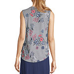 Liz Claiborne Womens Crew Neck Sleeveless Henley Shirt