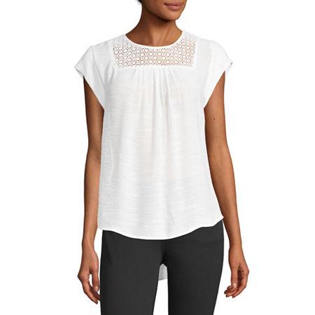 Liz Claiborne Womens Round Neck Short Sleeve Blouse, X-small , White