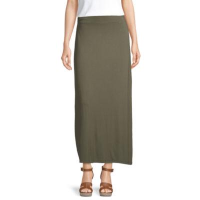 Liz Claiborne Womens Elastic Waist Maxi Skirt