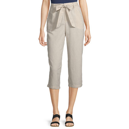 Liz Claiborne Belted Cropped Pants, X-small , Beige
