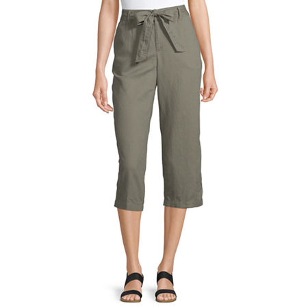 Liz Claiborne Belted Cropped Pants, X-small , Green