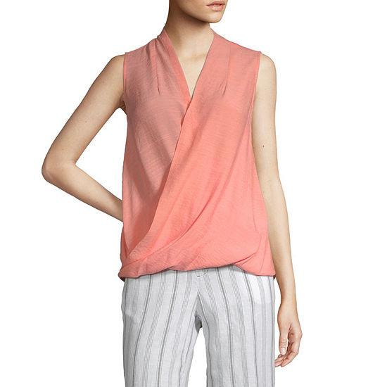 Liz Claiborne Womens V Neck Sleeveless Wrap Shirt