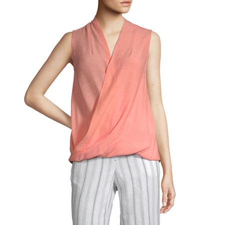 Liz Claiborne Womens V Neck Sleeveless Wrap Shirt, Medium , Pink