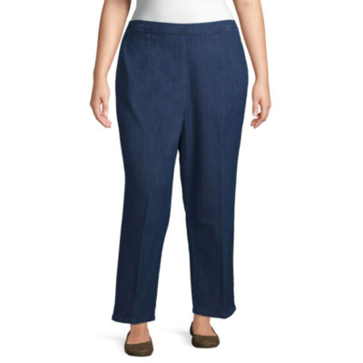 Alfred Dunner-Plus Petal Pushers Womens Straight Flat Front Pant