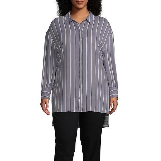 Worthington Womens Long Sleeve Button Front Tunic - Plus
