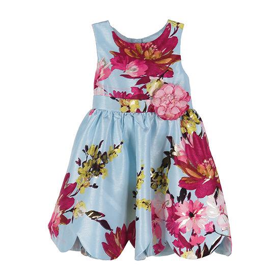 Lilt Girls Sleeveless Floral A-Line Dress - Baby