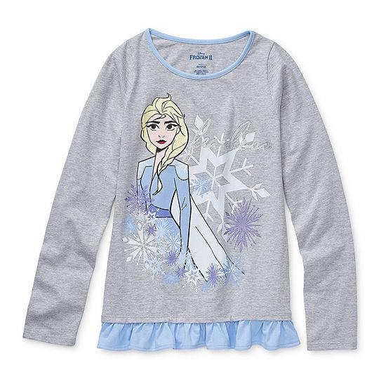 Disney - Little Kid / Big Kid Girls Round Neck Frozen Long Sleeve Graphic T-Shirt