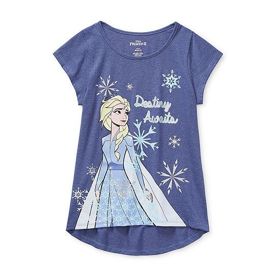 Disney - Little Kid / Big Kid Girls Round Neck Frozen Short Sleeve Graphic T-Shirt