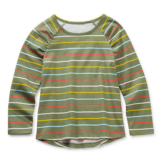 Okie Dokie Little Girls Round Neck Long Sleeve Graphic T-Shirt
