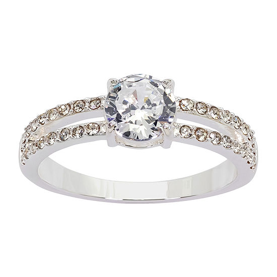 Sparkle Allure Cubic Zirconia Pure Silver Over Brass Engagement Ring