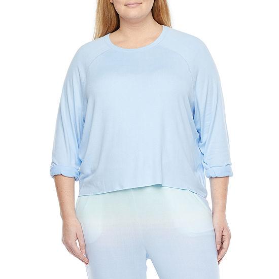 Peace Love And Dreams Womens-Plus Sweatshirt Cuffed Sleeve Crew Neck