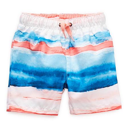Peyton & Parker Baby Boys Striped Swim Trunks, 3-6 Months , Blue