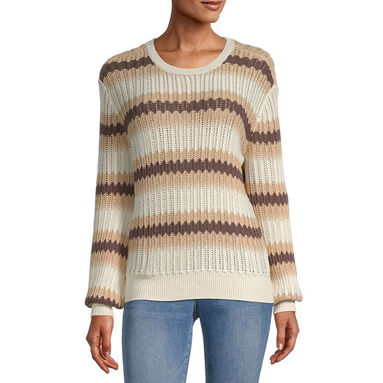 a.n.a Womens Round Neck Long Sleeve Striped Pullover Sweater