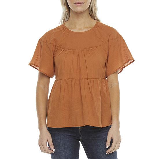 a.n.a Womens Crew Neck Short Sleeve Blouse