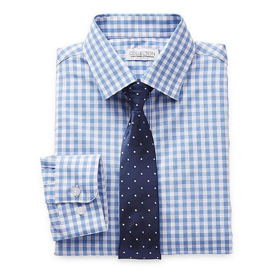Collection by Michael Strahan  Big Boys Husky Point Collar Long Sleeve Shirt + Tie Set
