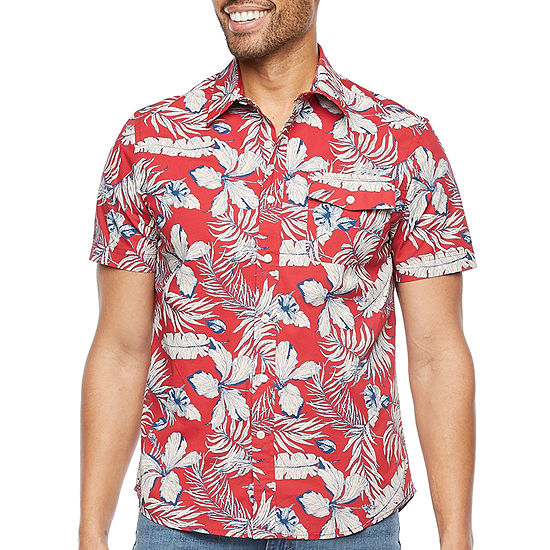 St. John's Bay Mens Short Sleeve Floral Button-Down Shirt