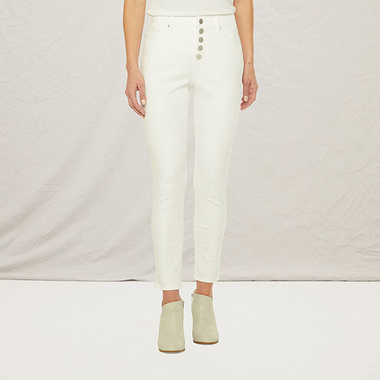 a.n.a Womens High Rise Button Fly Skinny Ankle Jean