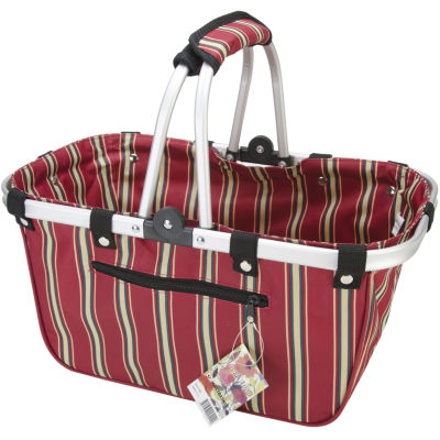 JanetBasket Large Red Stripes Aluminum Frame Basket