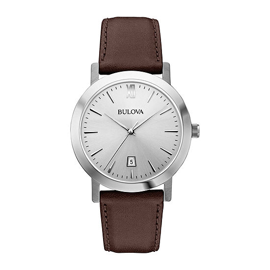 Bulova Classic Mens Brown Leather Strap Watch-96b217