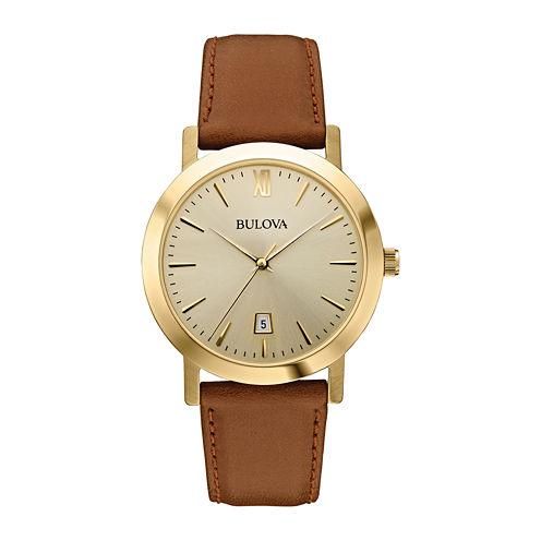 Bulova® Mens Gold-Tone Round Leather Strap Watch 97B135