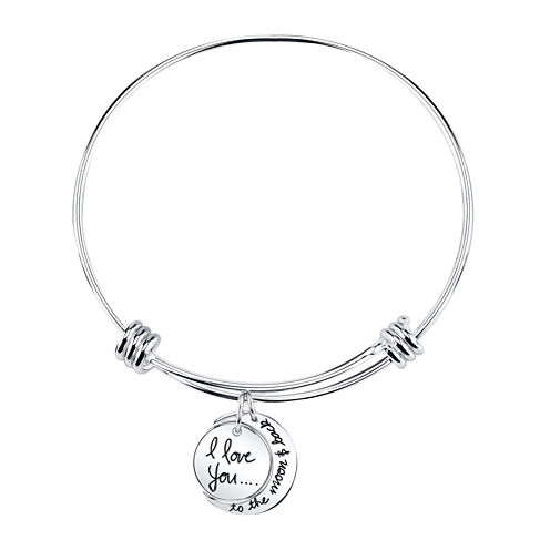 """Inspired Moments™ """"I Love You To The Moon and Back"""" Bangle Bracelet"""