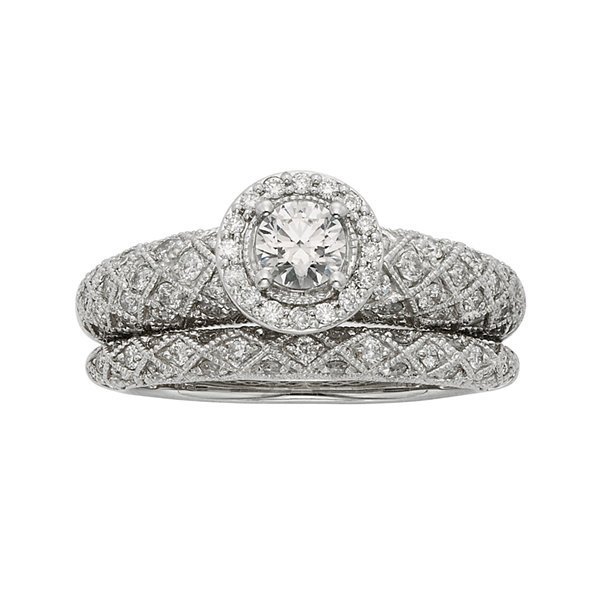 1 CT. T. W. Certified Diamond Art Deco Bridal Ring Set