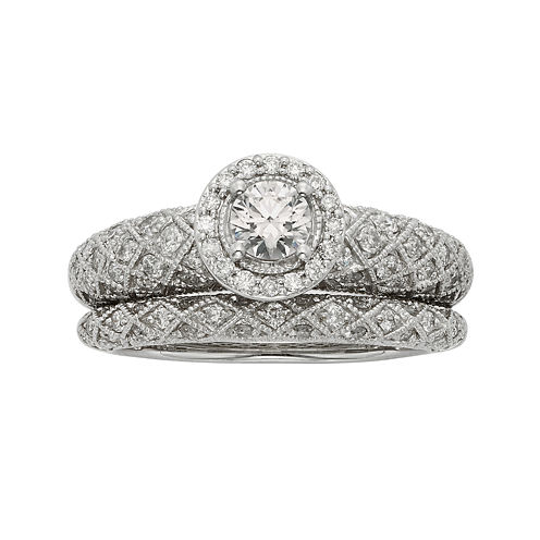 1 CT. T. W. Certified Diamond Art Deco Bridal Ring Set