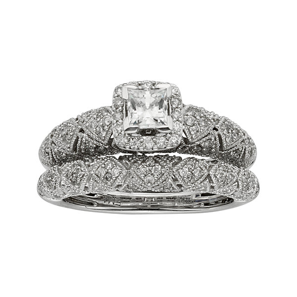 14K White Gold 1 CTTW Diamond Bridal Ring Set