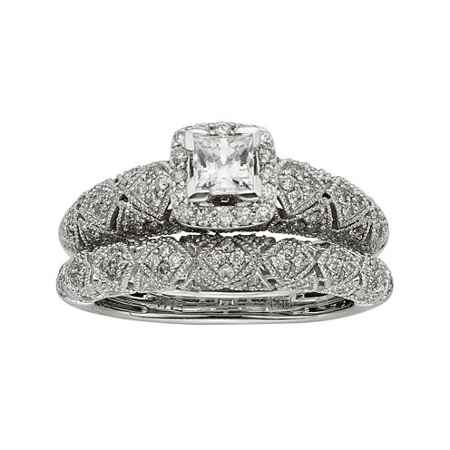 1 CT. T. W. Certified Diamond Princess-Cut Art Deco Bridal Ring Set