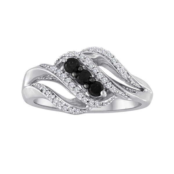 Midnight Black Diamond 1/3 CT. T.W. White and Color-Enhanced Black Diamond 3-Stone Crossover Ring