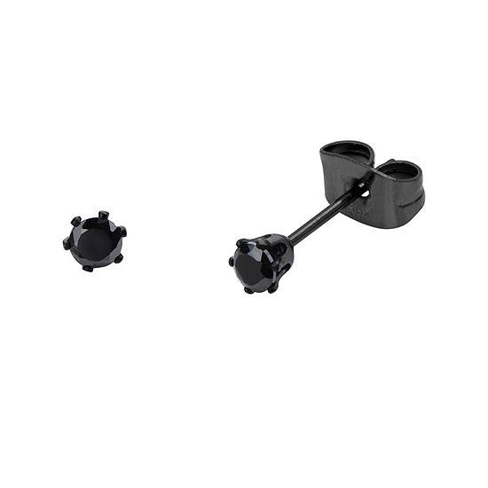 Black Cubic Zirconia 3mm Stainless Steel and Black IP Stud Earrings