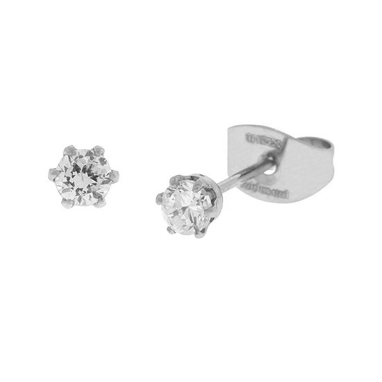 Cubic Zirconia 3mm Stainless Steel Stud Earrings