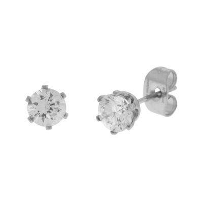 Cubic Zirconia 5mm Stainless Steel Stud Earrings