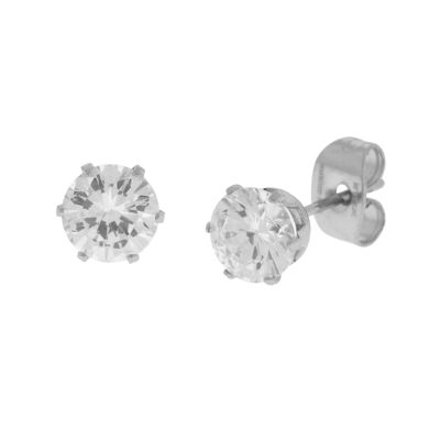 Cubic Zirconia 6mm Stainless Steel Stud Earrings