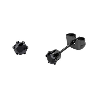 Black Cubic Zirconia 4mm Stainless Steel and Black IP Stud Earrings