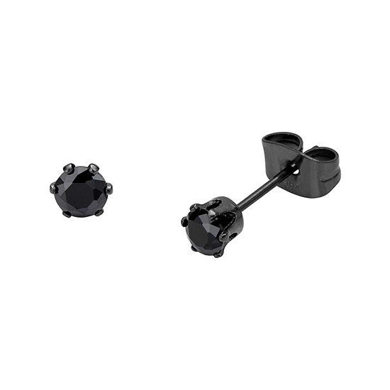 Black Cubic Zirconia 4mm Stainless Steel and Black IP Stud Earrings