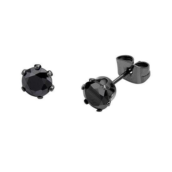 Black Cubic Zirconia 6mm Stainless Steel and Black IP Stud Earrings