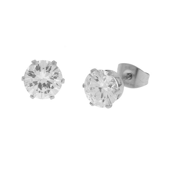 Cubic Zirconia 7mm Stainless Steel Stud Earrings