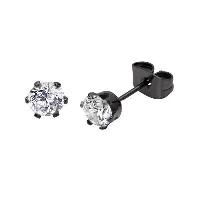 Cubic Zirconia 5mm Stainless Steel and Black IP Stud Earrings